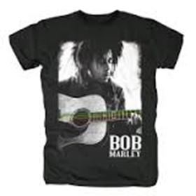 Bob Marley: Guitar Strings - Black T-Shirt  (Parallel Import)