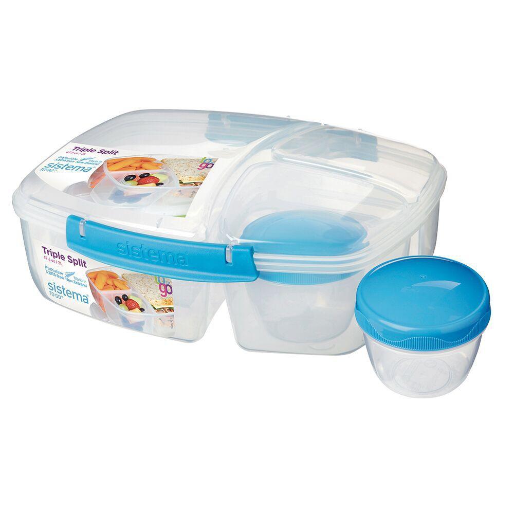 Sistema - Triple Split Lunch Box - Blue - 20920-B   Buy Online in ...