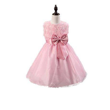 Snow White Roses Sparkle Princess Flowergirl Dress - Musky Pink