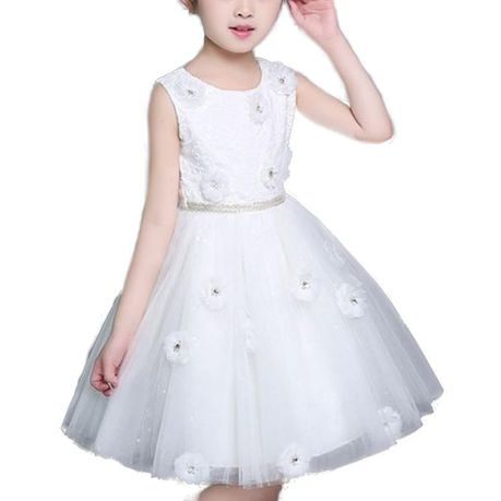 Snow White Sparkle Daisies Flair Flowergirl Dress - Milky White | Buy Online in South Africa | takealot.com