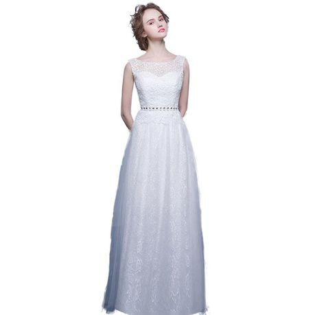 cb74c938e03 Snow White Mesh Bodice A-line Wedding Dress - White