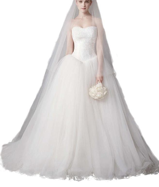 Snow White Strapless Lace Bodice Princess Veray-style Wedding Dress ...