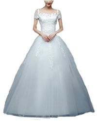 0f6193410174e Snow White Cap Sleeve Lace Bodice Princess Wedding Dress - White