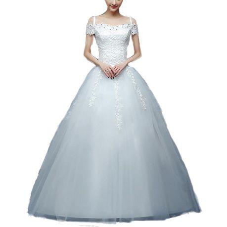 Snow White Cap Sleeve Lace Bodice Princess Wedding Dress White