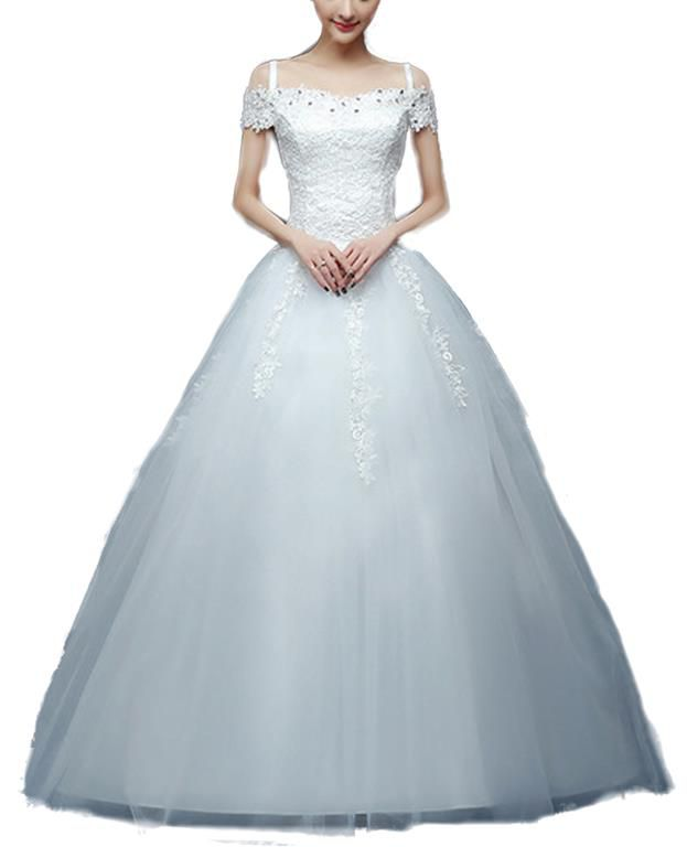 Snow White Cap Sleeve Lace Bodice Princess Wedding Dress - White ...