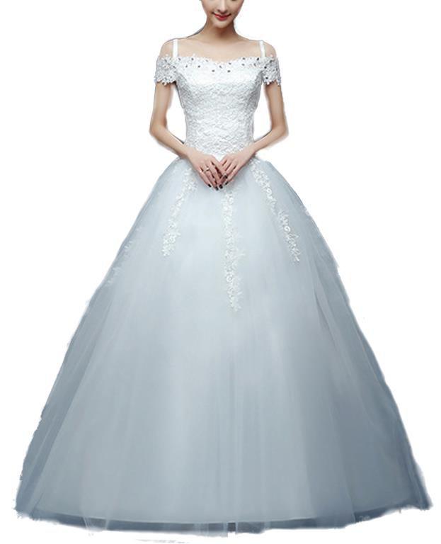 Snow White Cap Sleeve Lace Bodice Princess Wedding Dress - White ...