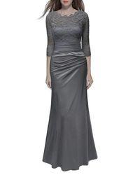 Snow White Sleeved Lace Bodice A-line Evening   Bridesmaid Dress - Grey 7dd9cbe97