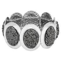 Silver Tone Oval-Shaped Stretchy Bracelet