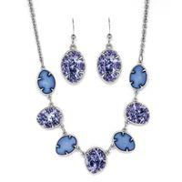 Silver Tone Oval Earring & Necklace Set - Purple