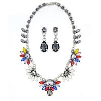 Silver Tone Chunky Necklace & Earring Set