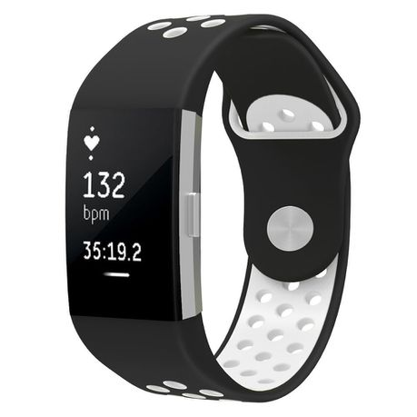 Silicone Sports Band for FitBit Charge 2 - Black & White (Size:S - M)