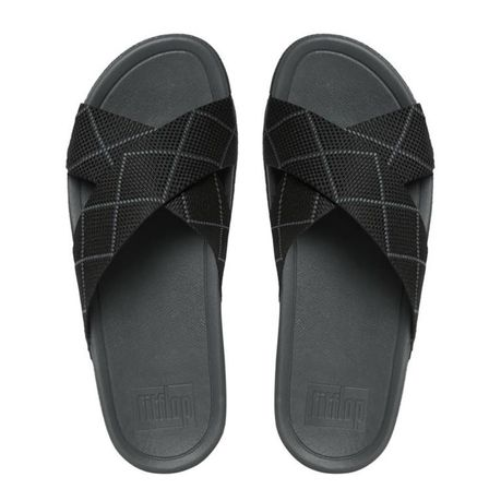 fc9831aeffb878 FitFlop Mens Surfer Dyno Slide Sandals - Black Dark Slate