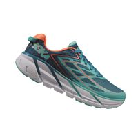 HOKA ONE ONE Womens Clifton 3 Running Shoe - Blue Jewel & Coral