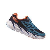 HOKA ONE ONE Mens Clifton 3 Running Shoe - Medieval Blue & Red Orange