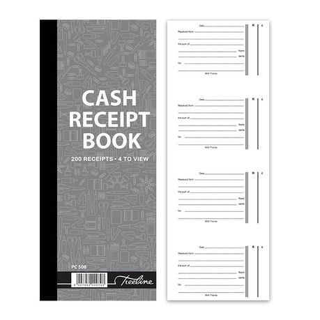 cash receipt book 4 to view in duplicate numbered pack of 5