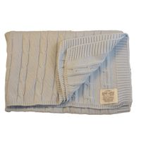 Romy & Rosie Cotton Cable Receiving Blanket - Blue