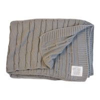 Romy & Rosie Cotton Cable Receiving Blanket - Grey