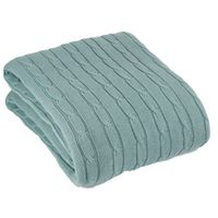 Romy & Rosie Cotton Cable Throw Blanket - Duck Egg
