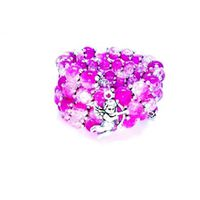 Two Toned Crackle Bead Bracelet with Cupid - Pink