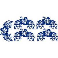 Vinyl Lady Decals Hibiscus Flowers Set of 5 Wall Art Stickers - Blue