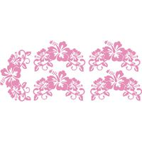 Vinyl Lady Decals Hibiscus Flowers Set of 5 Wall Art Stickers - Light Pink