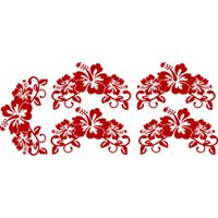 Vinyl Lady Decals Hibiscus Flowers Set of 5 Wall Art Stickers - Red