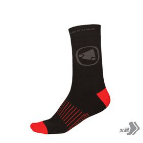Endura Men's Thermolite II Sock (Twin pack) - Black (Size: L/XL)