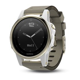 Garmin fenix 5S Sapphire Sports Watch - Goldtone with Grey Suede Band