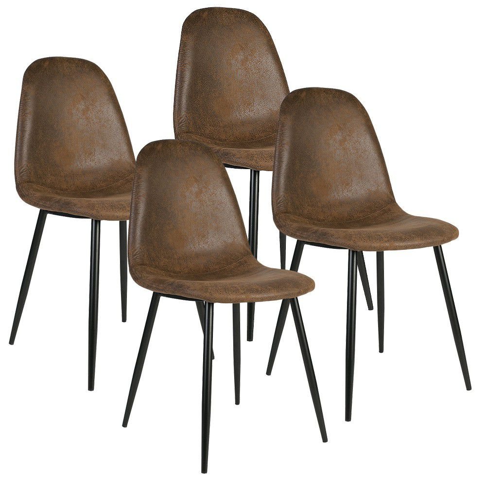 Charlton Suede Chair   Brown (Set Of 4)