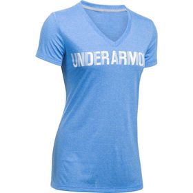 Under Armour Ladies Threadborne V Graphic Twist Tee - Mako Blue