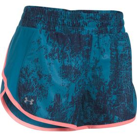 Under Armour Ladies Launch Printed Tulip Short - Bayou Blue