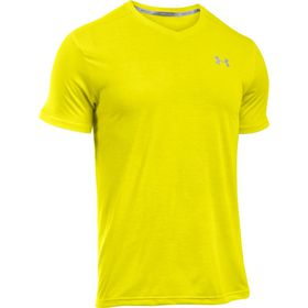 Under Armour Mens Threadborne Streaker V Neck Tee - Flash Light