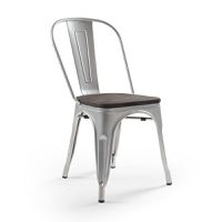 Cielo Oslo Metal Dining Chair Set of 4 - Bullet Silver