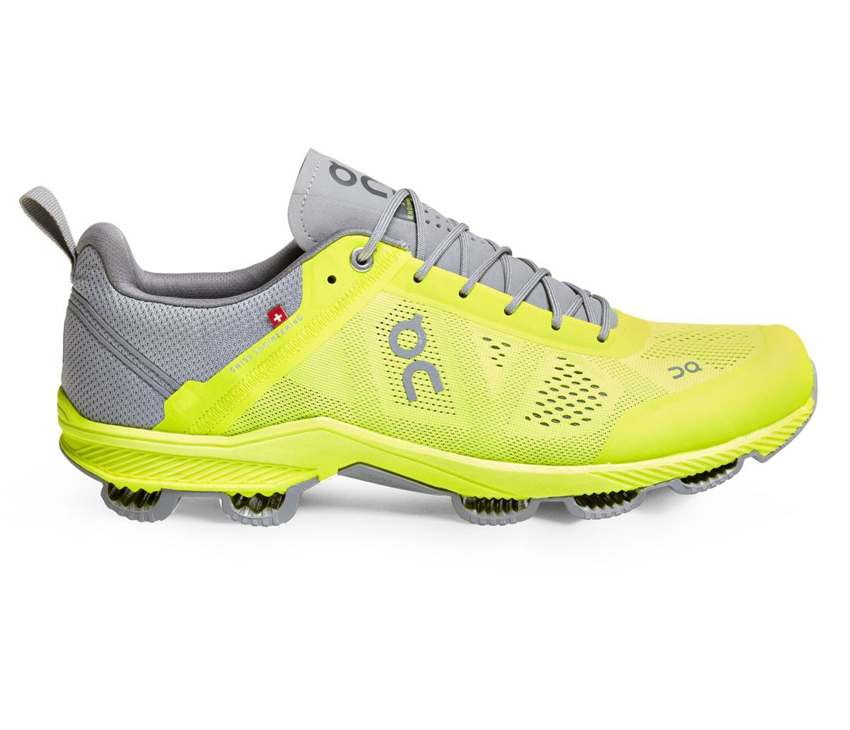 Run on Clouds Mens CloudSurfer Running Shoes - Neon & Grey. Loading zoom
