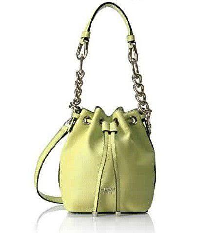 Guess Darby Pee Drawstring Bucket Bag Yellow
