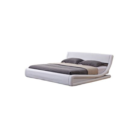 Hazlo Gabriela Modern Curve Style Faux Leather Bed Base   White (Size:  Queen)