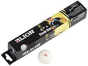 Lion Three Star White Table Tennis Balls - 6 Pack