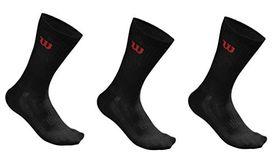 Men's Wilson Crew Black Socks - 3 Pairs (Size: 5.5 - 12.5)