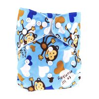 Luxe Life Reusable Cloth Nappy with 2 Micro Fibre Inserts - Blue Monkey Design