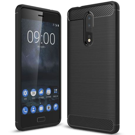 separation shoes f8d11 a372b Tuff-Luv Carbon Fibre Effect Shockproof Protective Back Cover Case for  Nokia 8 - Black