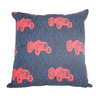 Soya Dekor Linen Cushion Cover with Microfibre Inner - Blue Plaastaxi Design (60x60cm)