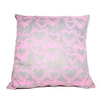 Soya Dekor Linen Cushion Cover with Microfibre Inner - Pink Hartedief Design (60x60cm)