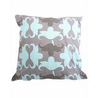 Soya Dekor Linen Cushion Cover with Microfibre Inner - Aqua Buffalo Design (50x50cm)