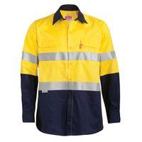 Jonsson Workwear Vented Long Sleeve Reflective Work Shirt - Navy & Yellow