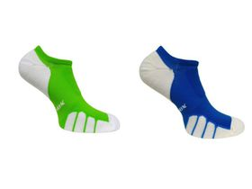 Vitalsox Court Sport No-Show 2 Pack Compression Socks - Royal & Lime (Size: M)