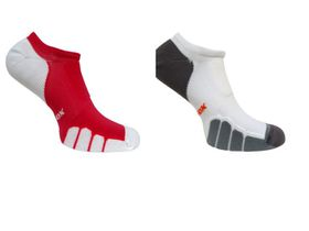 Vitalsox Court Sport No-Show 2 Pack Compression Socks - Red & White (Size: XL)