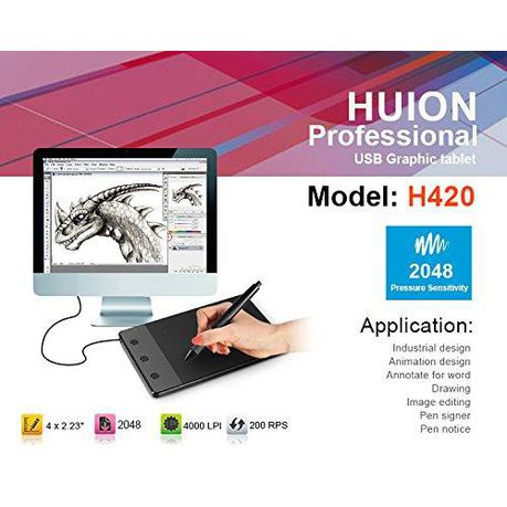 Huion H420 Graphics Drawing Tablet with Stylus | Buy Online
