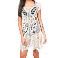 Womens Crochet Beach Dress - Off White