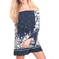 Womens Off-Shoulder Floral Border Print Playsuit - Navy Blue & White