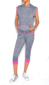 2 Pack Gym High Waisted Capri Tights & Hooded Sweat Shirt - Pink & Grey